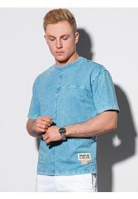 Ombre Clothing - T-shirt męski bawełniany S1379 - niebieski - XXL. Kolor: niebieski. Materiał: bawełna. Długość: krótkie. Wzór: geometria