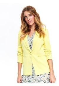 TOP SECRET - Taliowany żakiet damski. Okazja: na co dzień. Kolor: żółty. Materiał: jeans. Wzór: gładki. Sezon: wiosna, lato. Styl: elegancki, klasyczny, casual