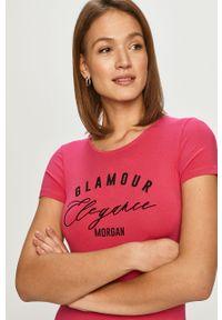 Różowa bluzka Morgan casualowa, na co dzień, z nadrukiem
