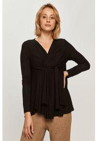 Czarna bluzka Stefanel na co dzień, z długim rękawem, klasyczna, długa