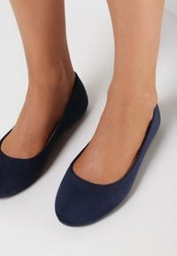 Born2be - Granatowe Balerinki Prisoesa. Nosek buta: okrągły. Kolor: niebieski. Materiał: skóra ekologiczna. Styl: klasyczny