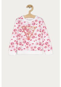 Różowa bluza Guess casualowa, bez kaptura, na co dzień