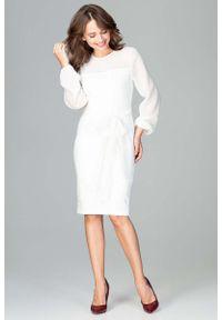 Katrus - Ecru Kobieca Wizytowa Sukienka z Prześwitującymi Rękawami. Materiał: poliester, wiskoza, elastan. Styl: wizytowy