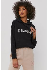 Element - Bluza bawełniana. Kolor: czarny. Materiał: bawełna. Wzór: nadruk