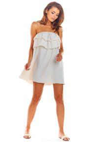 Beżowa sukienka wizytowa Awama mini