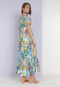 Born2be - Niebieska Sukienka Laomemoni. Okazja: na co dzień. Kolor: niebieski. Materiał: wiskoza, materiał. Długość rękawa: krótki rękaw. Wzór: aplikacja, kolorowy. Typ sukienki: proste. Styl: casual. Długość: maxi #3