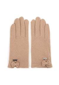 Beżowe rękawiczki Wittchen z haftami, na zimę, eleganckie
