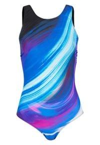 Kostium kąpielowy z szybko schnącego materiału bonprix czarno-niebieski wzorzysty. Kolor: czarny. Materiał: materiał