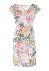Born2be - Kremowo-Różowa Sukienka Sylphassea. Kolor: beżowy. Materiał: tkanina. Długość rękawa: bez rękawów. Wzór: kwiaty, kolorowy. Typ sukienki: trapezowe. Długość: mini