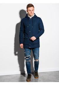 Niebieski płaszcz Ombre Clothing na wiosnę, z kapturem