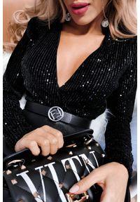Czarna bluzka IVET w kolorowe wzory
