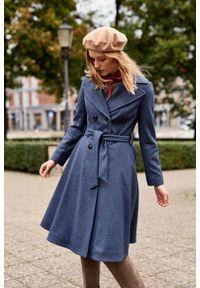 Marie Zélie - Płaszcz wełniany Achillea niebieski. Kolor: niebieski. Materiał: wełna. Wzór: motyw zwierzęcy, ze splotem. Sezon: zima #4