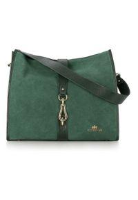 Zielona torebka worek Wittchen na ramię, zamszowa