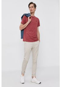 Pepe Jeans - T-shirt Gavin. Okazja: na co dzień. Kolor: różowy. Materiał: dzianina. Wzór: gładki. Styl: casual