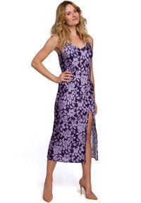 MOE - Długa Sukienka w Kwiaty na Ramiączkach - Model 2. Materiał: poliester. Długość rękawa: na ramiączkach. Wzór: kwiaty. Długość: maxi