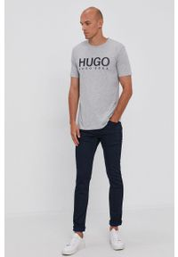 Hugo - T-shirt. Okazja: na co dzień. Kolor: szary. Wzór: nadruk. Styl: casual