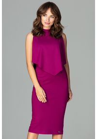 Lenitif - Dopasowana sukienka midi z doszytą pelerynką fuksja. Kolor: różowy. Typ sukienki: ołówkowe, dopasowane. Styl: elegancki. Długość: midi