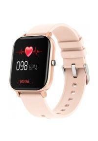 Różowy zegarek Maxcom smartwatch, casualowy