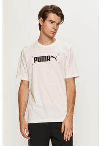 Biały t-shirt Puma z nadrukiem, na co dzień, casualowy, z okrągłym kołnierzem