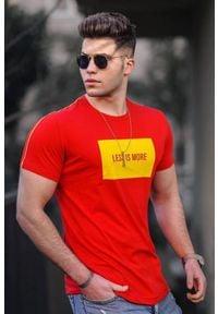 IVET - T-shirt męski ARTHUR RED. Okazja: na co dzień. Kolor: czerwony. Wzór: nadruk. Styl: casual #1