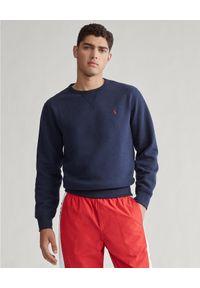 Ralph Lauren - RALPH LAUREN - Granatowa bluza z logo. Typ kołnierza: polo. Kolor: niebieski. Materiał: bawełna, polar, jeans. Długość rękawa: długi rękaw. Długość: długie. Wzór: haft. Styl: elegancki