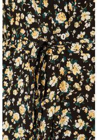 Czarna sukienka Vila w kwiaty, ze stójką, midi