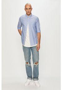 Wrangler - Koszula bawełniana. Typ kołnierza: button down. Kolor: niebieski. Materiał: bawełna. Długość rękawa: długi rękaw. Długość: długie
