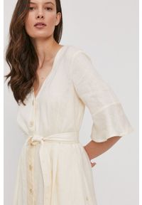 Pennyblack - Sukienka. Kolor: beżowy. Materiał: tkanina. Typ sukienki: rozkloszowane