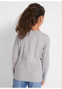 Szara bluzka bonprix z nadrukiem, długa, z długim rękawem