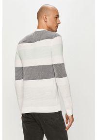 Biały sweter Jack & Jones z długim rękawem, długi, na co dzień