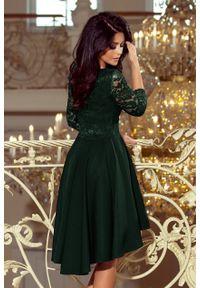 Sukienka wieczorowa Numoco asymetryczna, na wesele, w koronkowe wzory