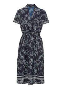 Niebieska sukienka Happy Holly kopertowa, z kopertowym dekoltem