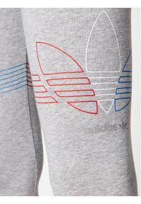 Adidas - adidas Legginsy adicolor Tricolor GN2958 Szary Tight Fit. Kolor: szary #4