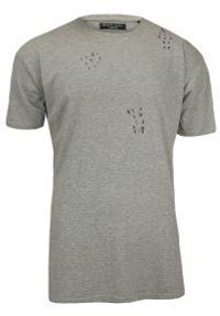 Szary, Przedłużony T-Shirt (Koszulka) z Dziurami - 100% BAWEŁNA - Brave Soul, Męski. Kolor: szary. Materiał: bawełna