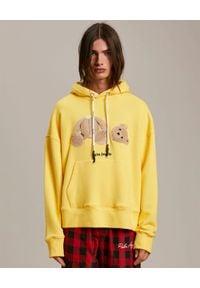 PALM ANGELS - Żółta bluza z misiem. Kolor: żółty. Materiał: bawełna. Długość rękawa: długi rękaw. Długość: długie. Wzór: aplikacja