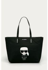 Czarna shopperka Karl Lagerfeld duża, z aplikacjami, z aplikacjami