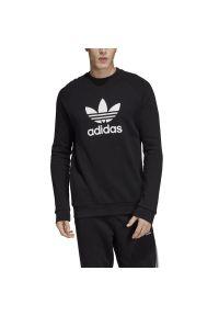 Czarna bluza Adidas z długim rękawem, z kontrastowym kołnierzykiem