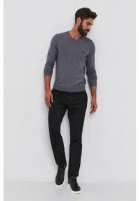 BOSS - Boss - Sweter wełniany. Okazja: na co dzień. Kolor: szary. Materiał: wełna. Długość rękawa: długi rękaw. Długość: długie. Styl: casual