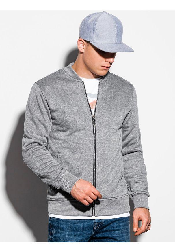 Ombre Clothing - Bluza męska rozpinana bez kaptura B1077 - szary melanż - XXL. Typ kołnierza: bez kaptura. Kolor: szary. Materiał: poliester, bawełna. Wzór: melanż. Styl: sportowy