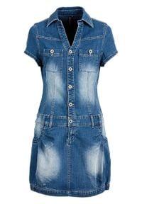"""Sukienka dżinsowa z plisą guzikową i kieszeniami na wys. biustu bonprix niebieski """"stone"""". Kolor: niebieski"""
