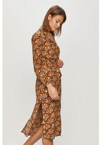 Wielokolorowa sukienka Vila prosta, maxi, z długim rękawem