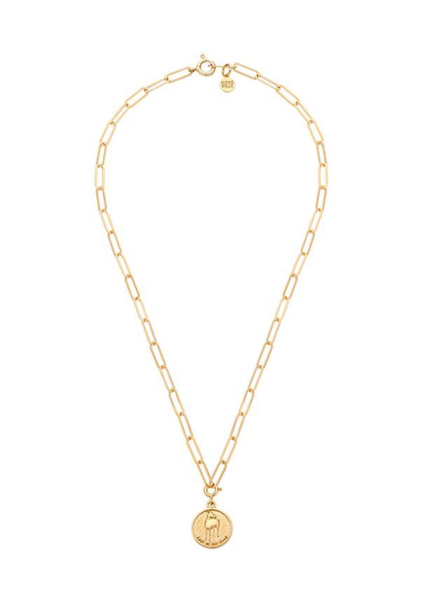 MOKOBELLE - Naszyjnik łańcuch z chińskim zodiakiem - KOZA. Materiał: pozłacane. Kolor: złoty