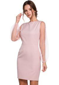 Makover - Wieczorowa sukienka z bufiastymi tiulowymi rękawami. Materiał: tiul. Długość rękawa: długi rękaw. Typ sukienki: ołówkowe. Styl: wizytowy. Długość: mini