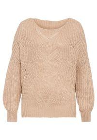 Beżowy sweter bonprix w ażurowe wzory