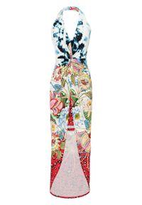 Sukienka z dekoltem halter i nadrukiem bonprix czerwono-niebieski oceaniczny - czarno-biały w roślinny wzór. Typ kołnierza: dekolt halter. Kolor: czerwony. Wzór: nadruk