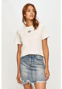 Biała bluzka Reebok Classic z okrągłym kołnierzem, casualowa