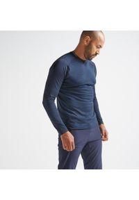 Niebieska koszulka do fitnessu DOMYOS z długim rękawem, melanż