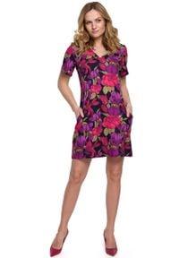MOE - Trapezowa Sukienka Mini w Kwiatowy Wzór - Model 2. Materiał: elastan, poliester. Wzór: kwiaty. Typ sukienki: trapezowe. Długość: mini