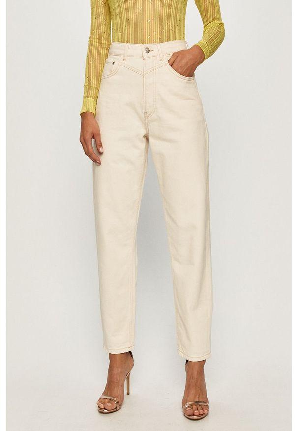 Kremowe jeansy Pepe Jeans z podwyższonym stanem
