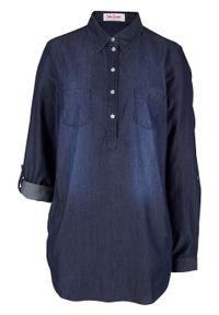 Tunika dżinsowa, długi rękaw bonprix ciemnoniebieski. Kolor: niebieski. Długość rękawa: długi rękaw. Długość: długie